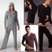 Sexy Men's Yoga Twinset N2N Tops+Pants Comfortable Ice Silk Pajamas Sets Men Sleepwear Causal Home Pyjamas Night bath Clothes(China (Mainland))