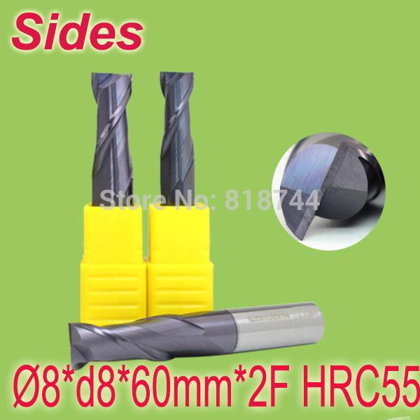 Фрезы Sides 8 * d8 * 60 * 2F HRC55 2F 8*d8*60mm*2F 8mm d8 40 d8 150 4 flutes hrc55 tungsten square end mills spiral bits carbide cnc flat endmill router bits