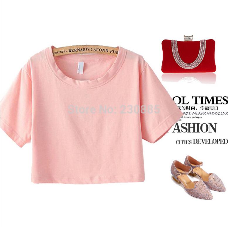 Classic simple design free size short crop top women t shirt young lady Cut T Shirt Designs For Girls