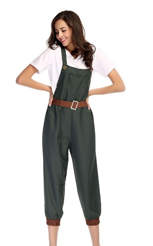 new European and American farmer loaded Army color suspenders casual pants Jumpsuit For Party Wear(China (Mainland))