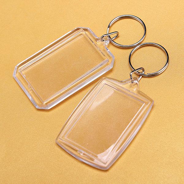 Wholesale 10pcs/lot New Fashion Transparent Blank Insert Photo Key Ring Split Ring Picture Frame keychain Create Gift(China (Mainland))