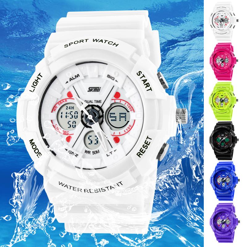 SKMEI WATCHES Women Digital Watch Multi-function Digital&Analog LED Man Sports Watch feminino relogio masculino Army Watch White(China (Mainland))