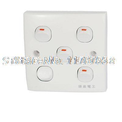 AC 250V 10A 5 Gang Button On/Off SPST Wall Light Switch Plate Panel White(China (Mainland))