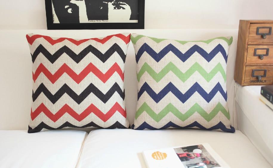 Simple two-color curve Cotton Pillow Cushion cover IKEA Wavy lines Linen Pillow Home Decor sofa cushions 45*45cm 2PCS/LOT(China (Mainland))