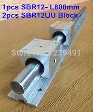 1pc SBR12 L800mm linear guide + 2pcs SBR12UU linear bearing block cnc router(China (Mainland))