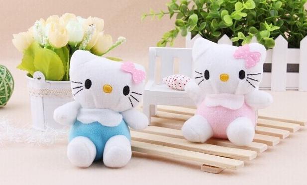 Kawaii Sweet Bowtie Hello Kitty Plush Stuffed TOY 8*4CM Phone Charm Strap Pendant Lanyard DOLL , BAG Key Chain TOY(China (Mainland))