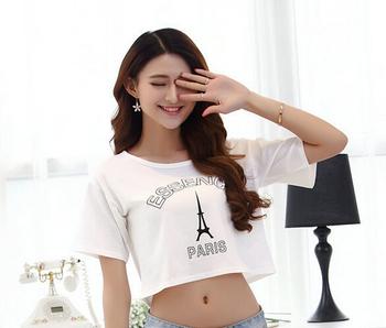 Женщина мода сексуальный летом топы обрезанные печать на футболках персонализированные париж буквы родительский консультативный женское блузка одежда