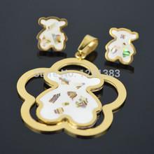 S54D Mini Teddy Gold Bear Pendant Honey Flower Bear with earring Charm stainless steel Girl Fahion