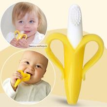 2015 Hot venta de seguridad de color naranja de banano ecológico mordedor bebé dentición Silicone cepillo de dientes anillos higiene oral(China (Mainland))