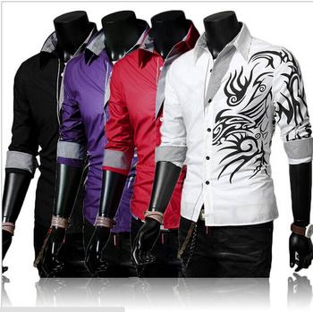Зима мужчины в длинная рукавами рубашка печать персонализированные, Мужчины в свободного ...