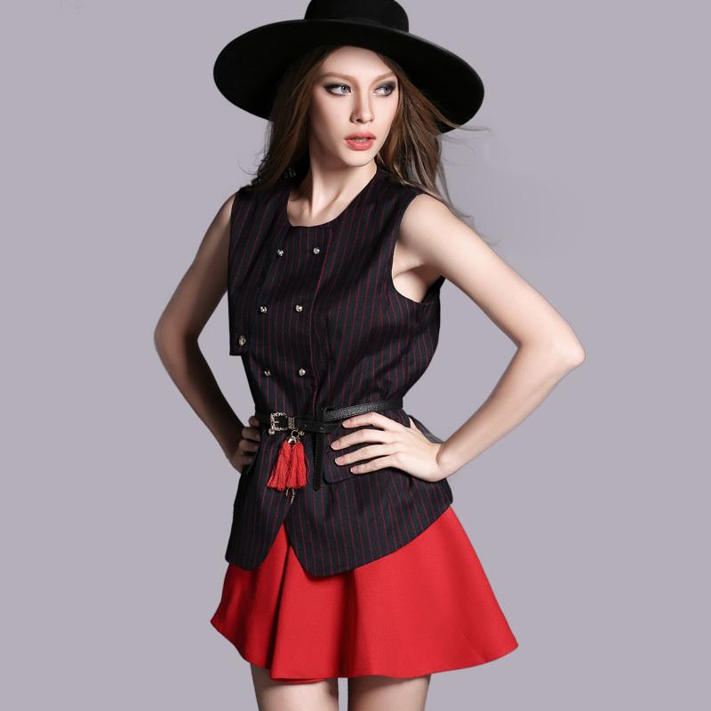 2015 novo europeu high end roupas femininas , na primavera na europa e Frank blusa listrada saia curta terno grátis frete(China (Mainland))