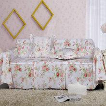 YL 100% cotton European Flower printed sofa cover garden cloth princess funda sofa covers slipcover couch cover set sale LMXH(China (Mainland))