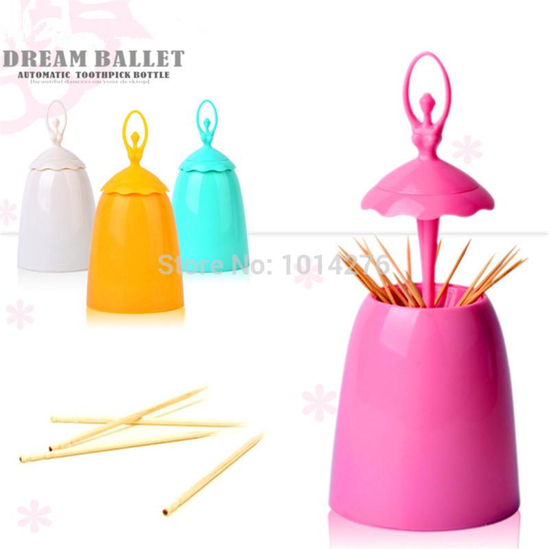 2015 Creative Design Ballet Dancer Toothpick Holder Home Decorative Plastic Toothpick Box Tooth Pick Holder Vintage Tableware(China (Mainland))