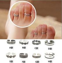 TOR001 Celebrity Fashion Simple Retro Flower Design Adjustable Toe Ring Foot Jewelry 12 Designs Option
