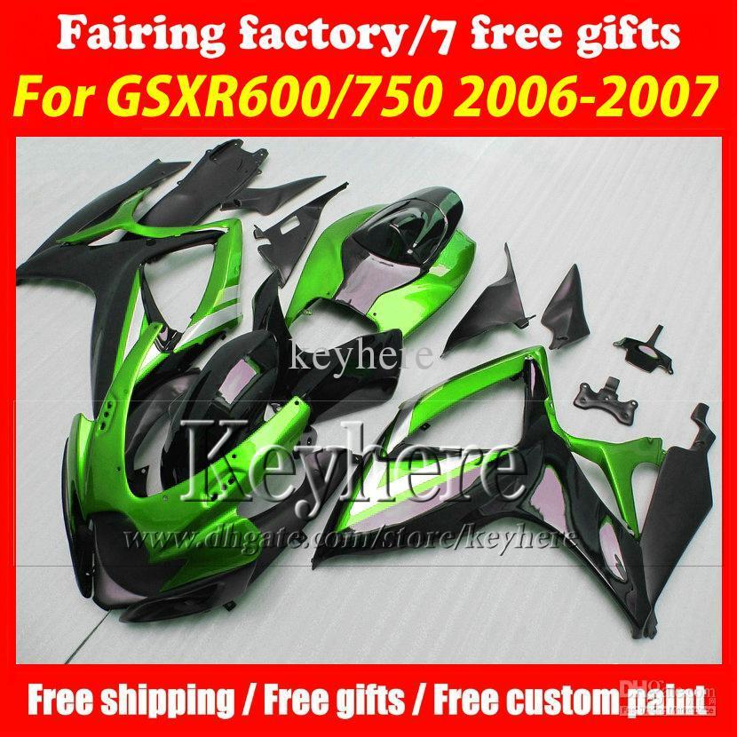 7 gifts! injection fairing kits for SUZUKI 06 07 GSXR 600 fairings GSXR 750 K6 2006 2007 fairings r7n hot new green black motor(China (Mainland))