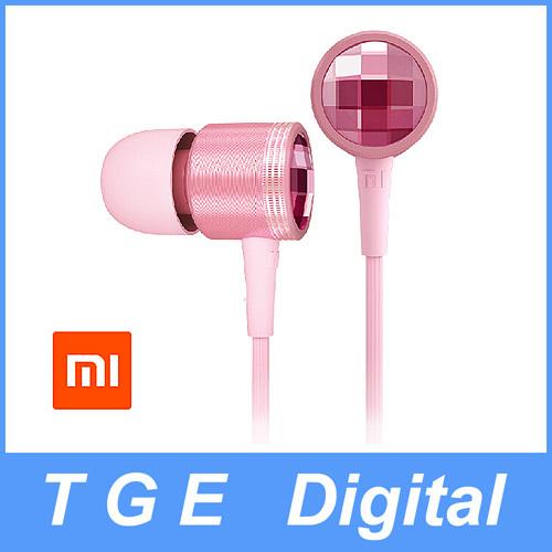 Original Xiaomi Piston 2 Pink Color Crystal Diamond Earphone Headphone with Remote & Mic for iPhone 6 Xiaomi Hongmi Samsung HTC(China (Mainland))