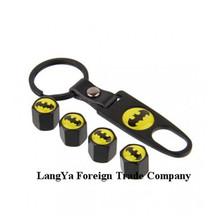 (4caps+1keychain)/set automobile wheel tire tyre valve stem rim caps cover for batman car brands badge emblem(China (Mainland))