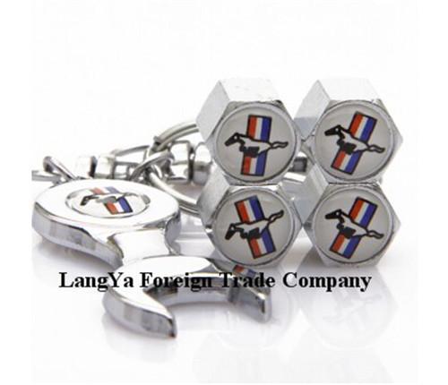 (4caps+1keyring)/set automobile wheel tire tyre valve stem rim caps covers for MUSTANG car brands(China (Mainland))