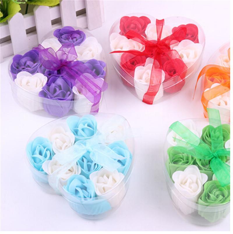 Hot Sale New 9pcs Delicate Toilet Soap Bath Soap Flower Rose Saop(China (Mainland))