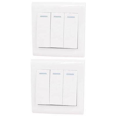 Home Office 3 Gang Button SPST White Wallplate Panel Switch AC 250V 10A 2 Pcs(China (Mainland))