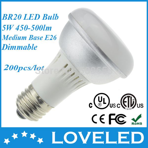 UL ETL (50W Halogen Replacement) E26 Base Dimmable 5W R20 LED Flood Light Bulb PAR20 LED Soft White 3000K 110VAC 200pcs/lot(China (Mainland))