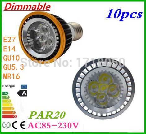 HOT 10pcs Free Shipping High Quality LED Light PAR 20 9W 12W 4X3W 15W Spotlight E27/GU10/E14(110V 220V )Cool White Warm White(China (Mainland))