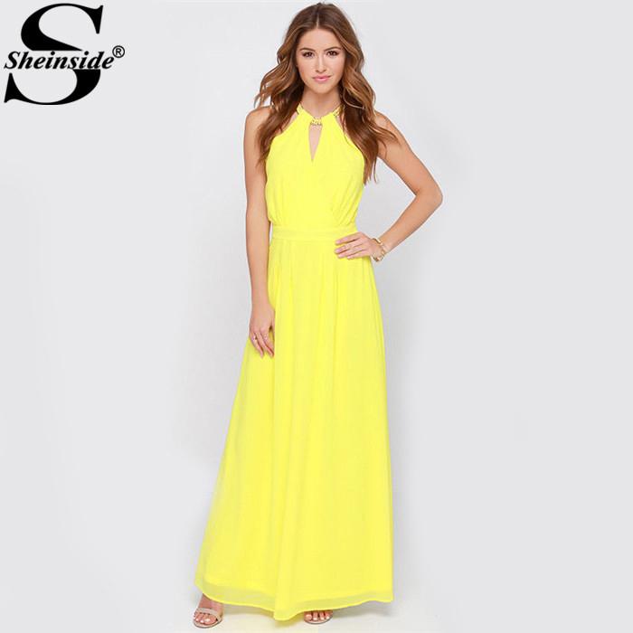 AliExpress.com Product - Sheinside Summer New Arrival Brand Woman Clothing Vestidos 2015 Solid Yellow Sleeveless Halter Fashion Designs Maxi Dress