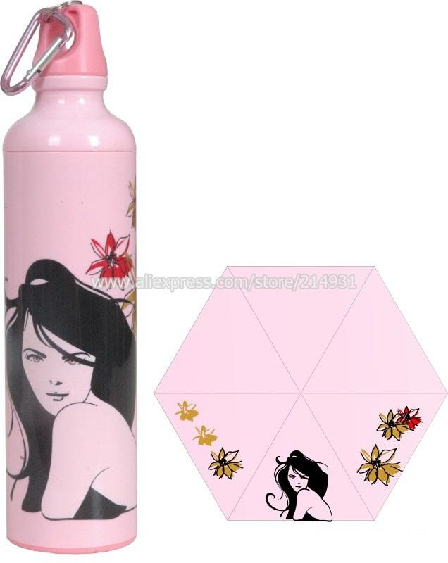 Fashion Sports Water Bottle Shaped Umbrella Portable Sun Rain UV Folding Parasol Pink Plastic Case Modern Girl Design(China (Mainland))