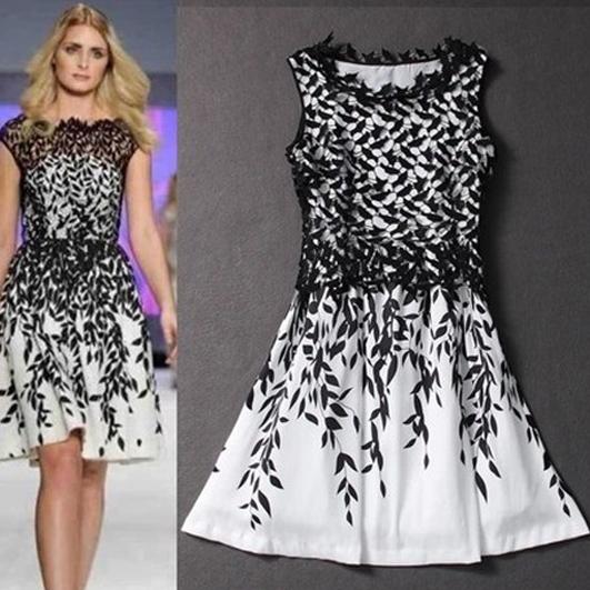 2015women dress,The new summer elegant water soluble lace stitching leaf print dress fashion temperament(China (Mainland))