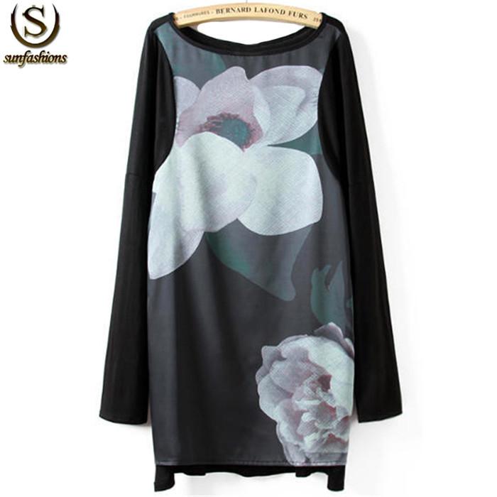 Femininas 2015 Women Tops New Spring Retro Desigual Ladies Casual Black Round Neck Long Sleeve Lotus Print Loose T-shirt(China (Mainland))