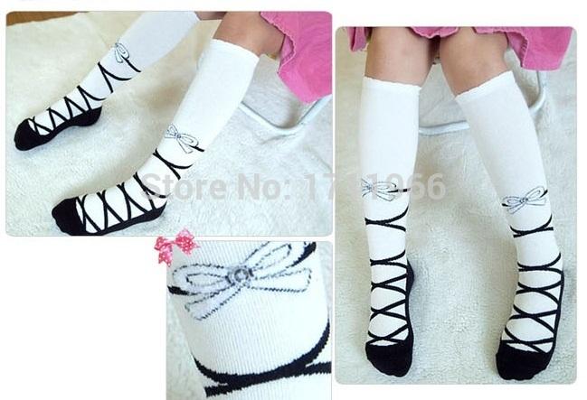 Girls Knee High Socks Kids Cotton Tights Striped Stockings girls Ballet Shoes(China (Mainland))