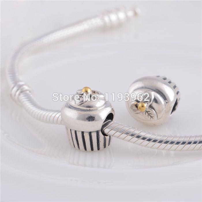 14k Gold Plated Cupcake Charm Beads Fits Pandora Bracelets 925 Sterling Silver Christmas Cake Bead Diy