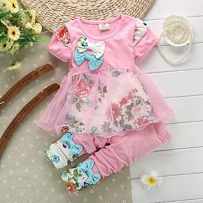 New Baby Girls clothing Set Girls floral print short-sleeved suit girls baby set suits retail kids clothing sets free shipping(China (Mainland))