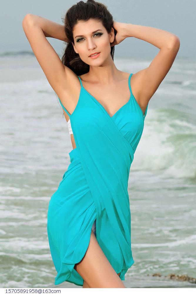 beach sarongs Summer Dress New 2015 praia vestido Sexy Beachwear Beach Cover-up Criss-cross Front Beach Dress(China (Mainland))