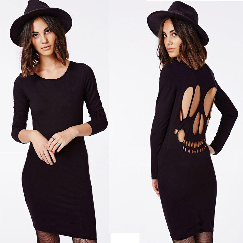 2015 New Women Pierced Backless Sexy Skull Dress Plus Size Women Clothing Cotton Long Sleeve Dresses Female Spring Summer Dress(China (Mainland))