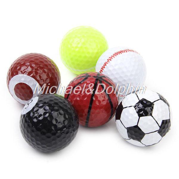 Free Shipping Assorted Designs Golf Balls (Basketball, Football, Tennis, Baseball, 8-Ball, Volleyball) - 6 balls(China (Mainland))