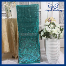 CH004J For sale custom made cheap wedding glitter turquoise sequin chair cover(China (Mainland))