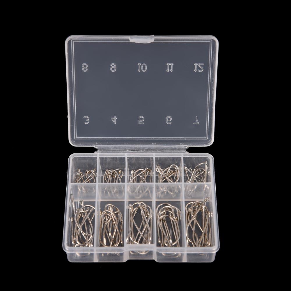 100Pcs 1 Box Steel Carp Fishing Jig Hooks with Hole Fishhooks 10 Sizes 3# - 12# Pesca Fishing Tackle Tool(China (Mainland))