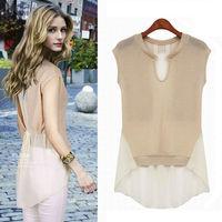 Women Tops 2015 New Chiffon Blusas Femininos Patchwork Lady Clothing Summer Brand Quality US EU Hot Selling Woman Shirts NZH069