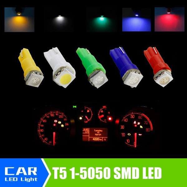 20pcs/lot Car Interior LED light T5 1 SMD 5050 led Dashboard Car Vehicle Light Bulb Yellow/Blue/green/red/white car light source(China (Mainland))