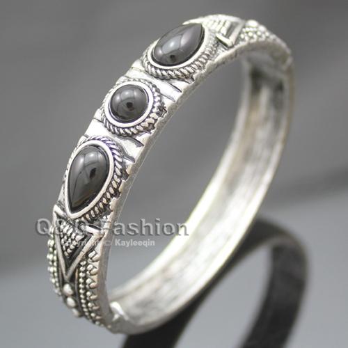 Vintage Silver Aztec Dots Triangle Black Stone Hinged Bracelet Bangle Cuff Jewelry Free Shipping(China (Mainland))