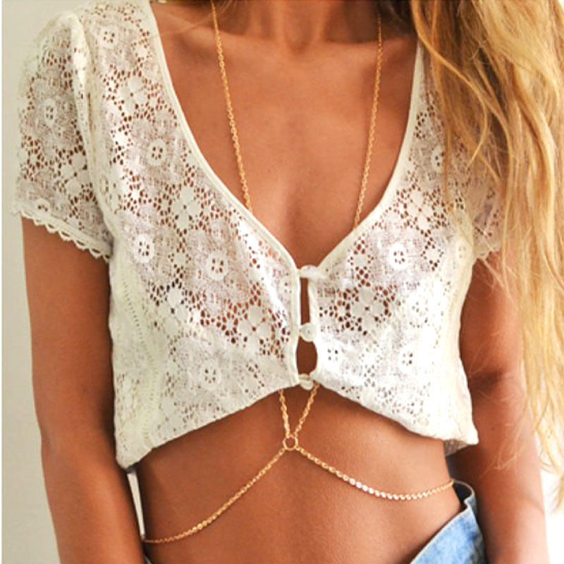 New Fashion Sexy Simple one chain Tassels Cross Body Link Belly Waist Necklace Chain Slave Harness