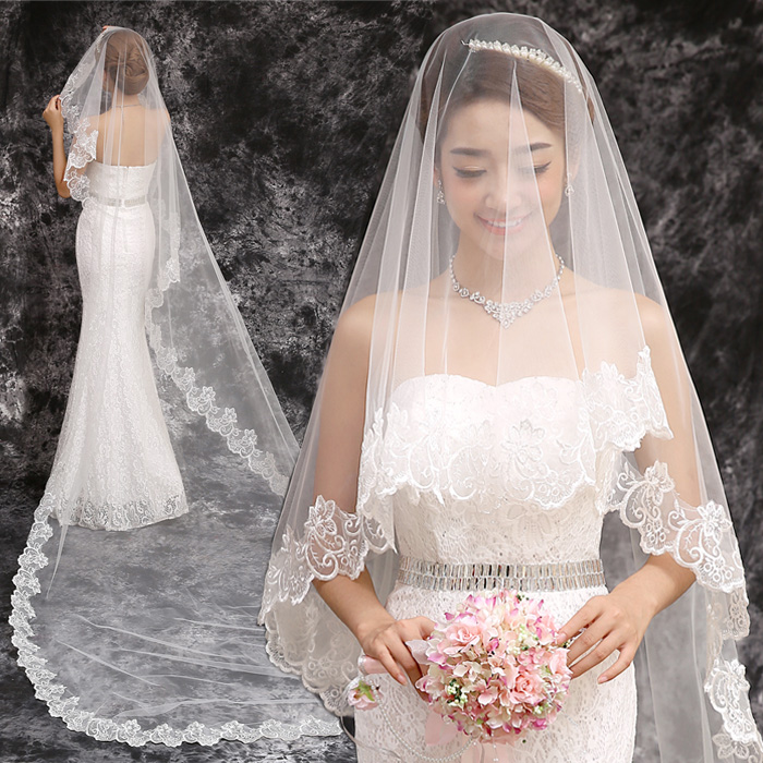 Aliexpress Buy Cathedral Train 2015 Long Bridal Veil 3 Meters Lace Wedding Dress Extra
