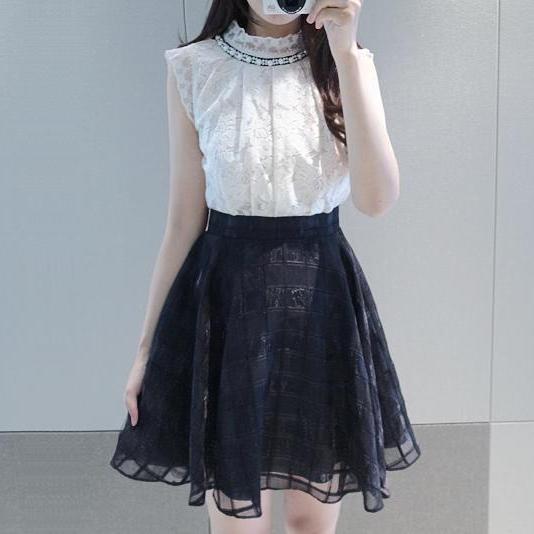 High Street Fashion White/Black Lace Dress 2 Piece Set Women Sleeveless Korean Summer Dress Ladies Work Dress vestidos de renda(China (Mainland))