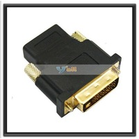 Free Shipping+10pcs/lot DVI to HDMI Gold Adapter,US Seller-C0031