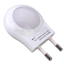 High Quality Mini LED 0.6W Night Light Lighting Control Auto Sensor Baby Kid Bedroom Lamp White EU Plug(China (Mainland))