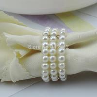 100pcs Wholesale Pearls Napkin Rings Hotel Wedding Napkin ring Free Shipping R006