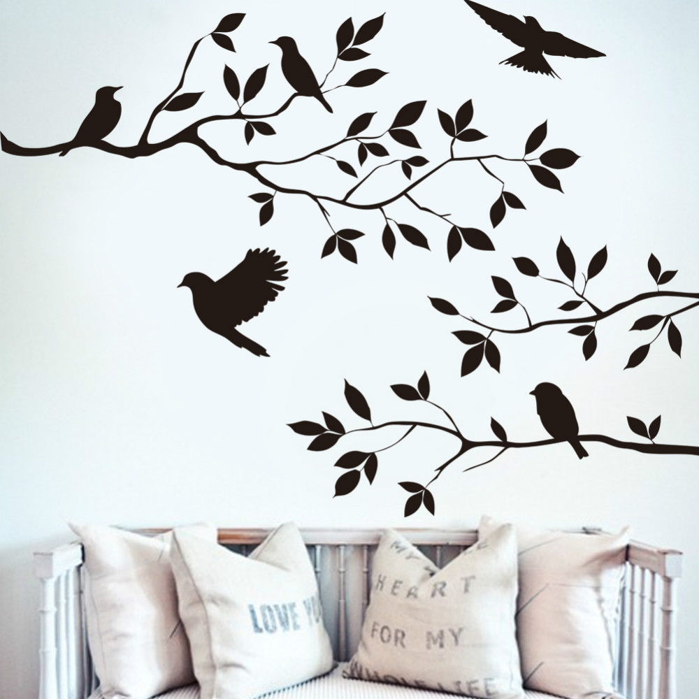Free shipping Birds on the Tree Removable Wall Decals Stickers Living Room Furniture Decor Mural Art Sticker(China (Mainland))
