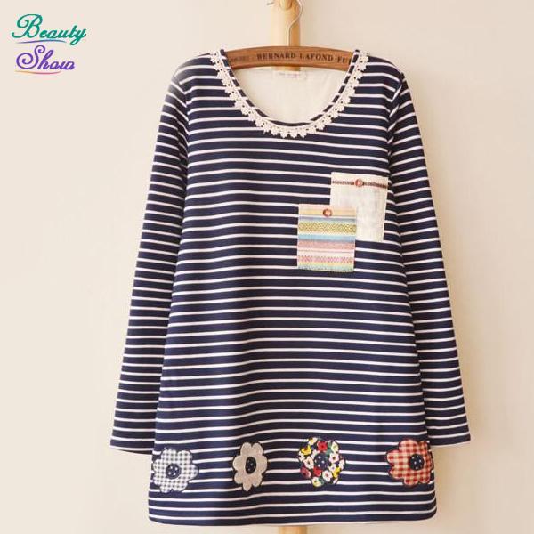 Free Shipping 2015 Fashion New t shirt Women Tops Long Sleeve Round Neck Loose T Shirts Plus Size Striped Women Clothing Autumn(China (Mainland))