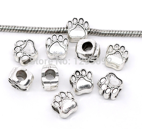 100Pcs Silver Tone Dog 's Paw Animal Spacer European Beads Fit Charms Bracelets Jewelry Charms Component Wholesale 11x11mm(China (Mainland))